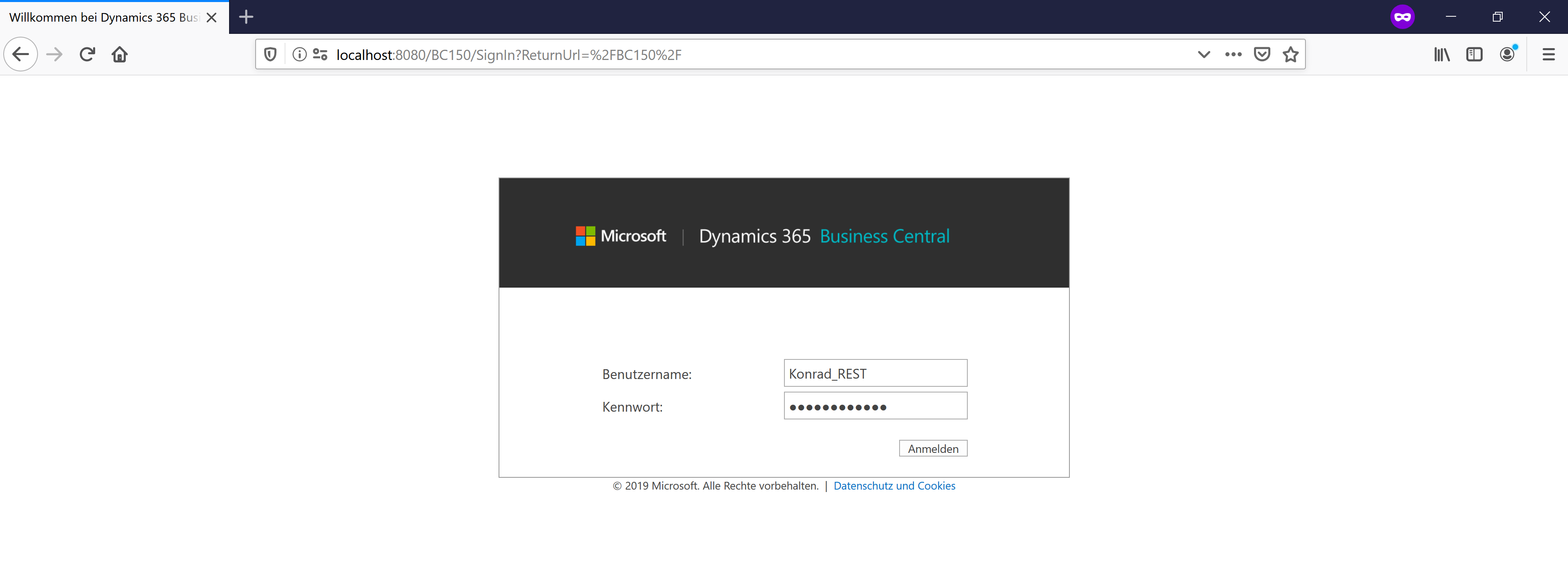 Dynamics 365 Business Central (Navision) - NavUserPasswort Loginfenster